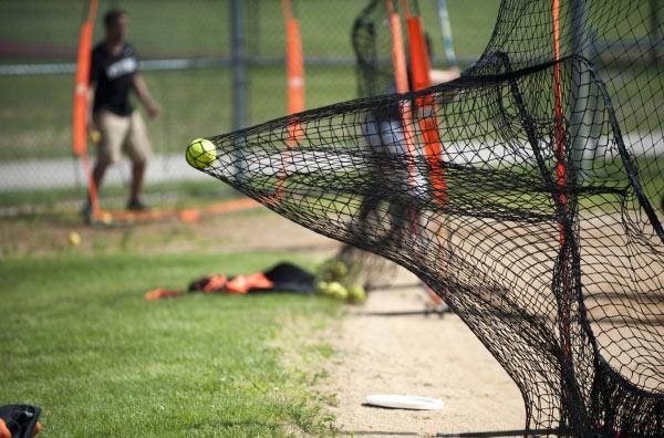 Batting net in backyard